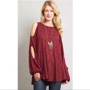 Cold Shoulder Plus Size Tunic top boho red wine